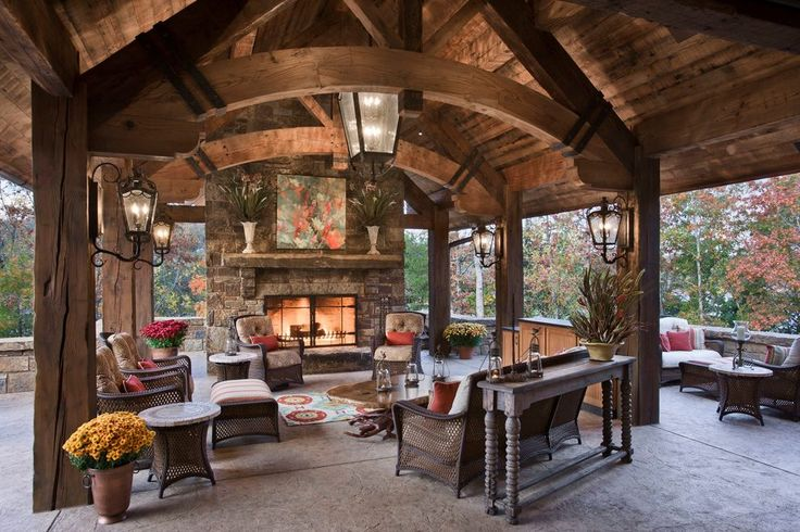 timber frame roof patio rustic with outdoor fireplace transitional ...