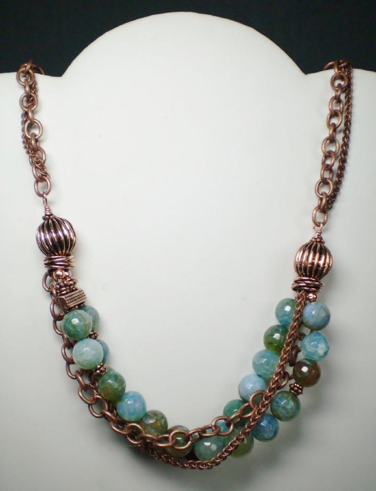 Faceted Agate & Copper NecklaceAgates Copper Nl01 Jpg, Agatecoppernl01Jpg 7841024, Copper Necklaces, Beads, Chains Necklaces, Agate Copper Nl01 Jpg, Awesome Copper, Necklaces Ideas, Faceted Agates