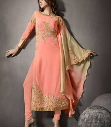 Buy Peach embroidered georgette unstitched salwar with dupatta party-wear-salwar-kameez online