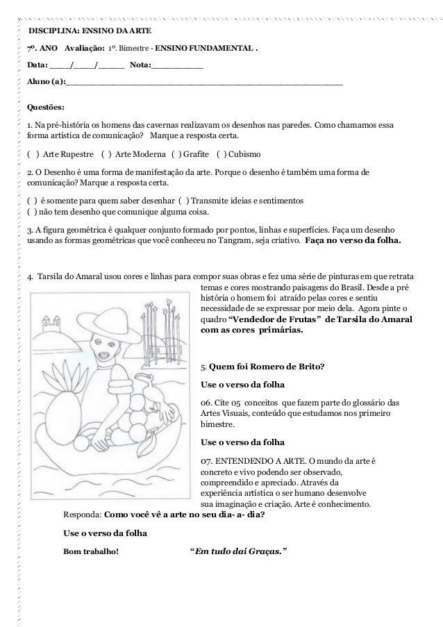 Avaliacoes Artes Primeiro Bimestre Atividades De Aprendizagem