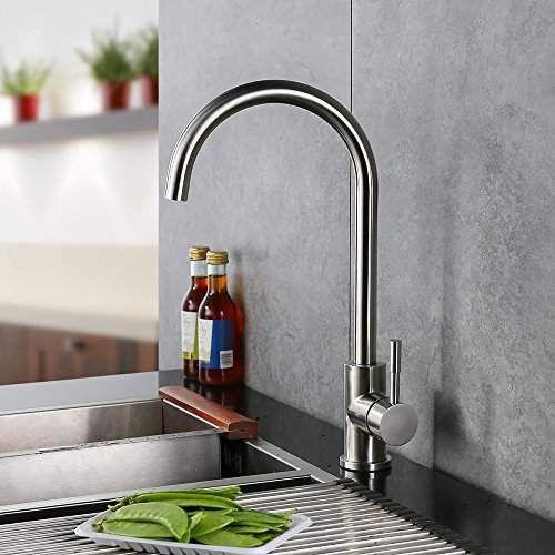 Homelody Robinet Mitigeur Cuisine en Laiton Durable Acier Inox Brossé Bec Pivotant à 360°Robinetterie Cuisine Design Moderne