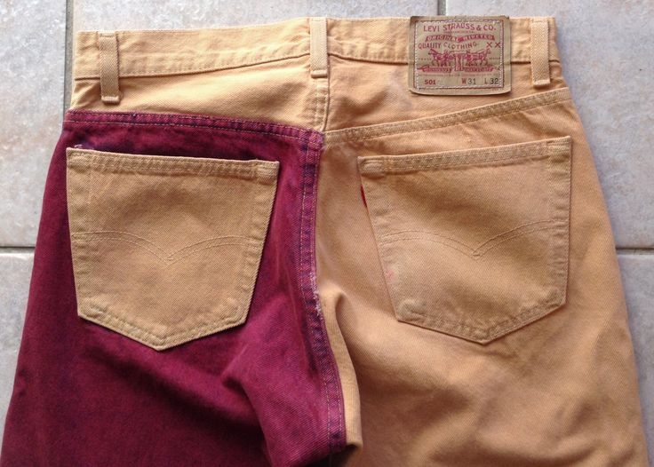 Levi 501 Jeans - Distressed Levis sz 31/30- Colored Mens Jeans - Vintage DenimJeans - Decorated Levi Jeans - Red - Tan Levi 501 Jeans -Gift by KarynJamieDesigns on Etsy
