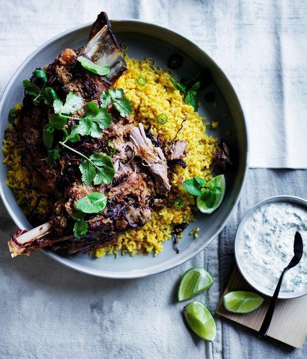 Our twelve-hour Indian-spiced lamb shoulder with saffron pilaf proves that…