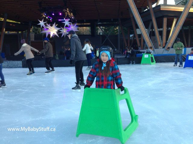 Skating at the Whistler Olympic Plaza was a highlight during our winter trip to Whistler. Get more information about this outdoor skating rink on the blog now. #Whistler #familytravel #kidsactivities #WhistlerBlackcomb
