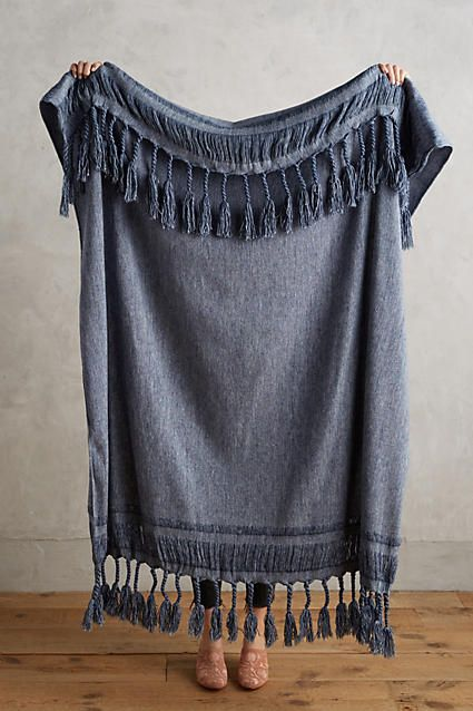 Anthropologie Roped Fringe Throw Blanket