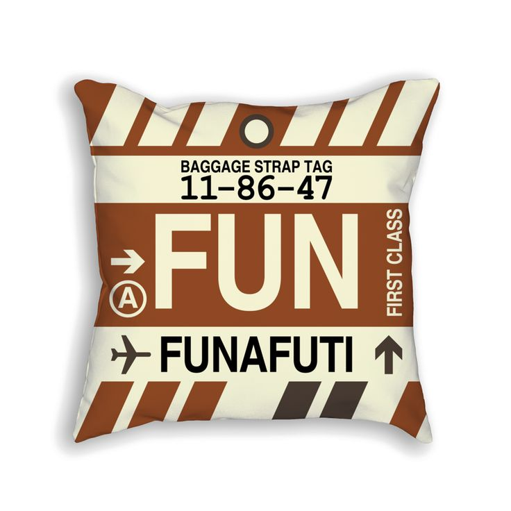 FUN Funafuti Airport Code Baggage Tag Pillow