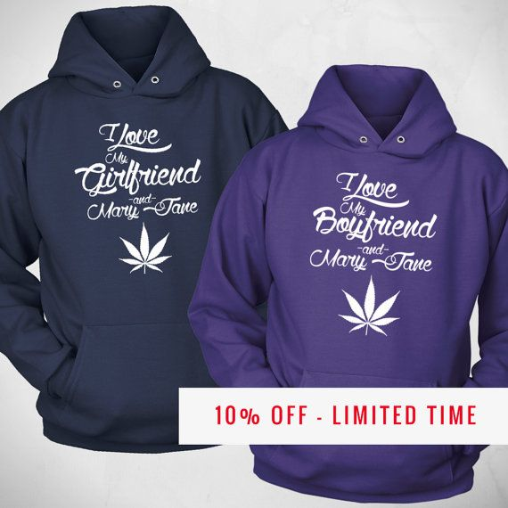 His and Hers Cannabis Sweatshirts - Love & Mary Jane Funny 420 Couples Set - 2 Weed Hoodies Couples Gift - Cool Stoner Sweatshirt (NK1THD) by NuKryptonTeesCo #nktees #etsy #funny