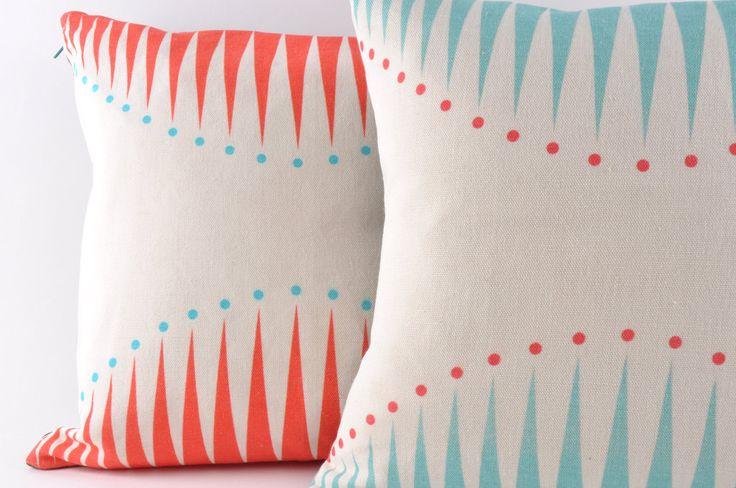 Cushion - Coral Circus Triangles. £40,00, via Etsy.