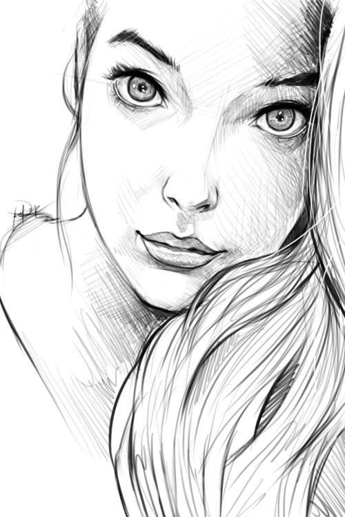Line Drawing Girl : Used lines simple black and white but a clear emotion in