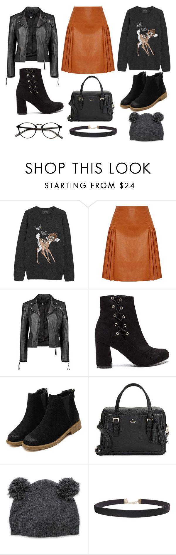 What to wear - skirt, jumper, boots, leather jacket. Fall winter look