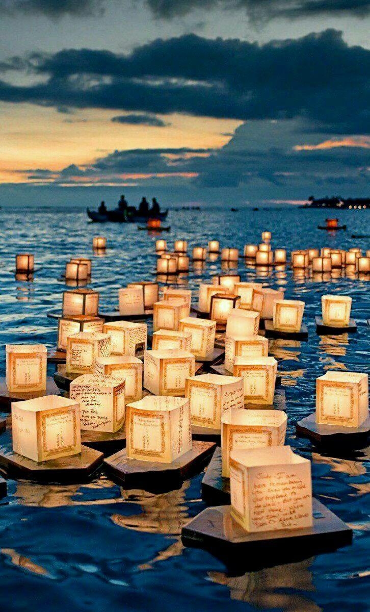 Floating lantern festival, Honolulu Hawaii USA