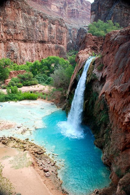 Havasu Waterfalls, Grand Canyon, Arizona - Double click on the photo to Design & Sell a #travel itinerary to #Arizona at www.guidora.com