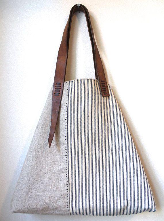 Sail Away Tote - Antique Ticking Stripe Cotton, Irish Linen, Repurposed Leather Tote Bag Purse