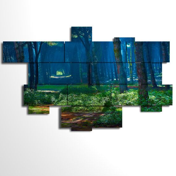 Multilevel and multipanel picture - 236x146 cm - Forest