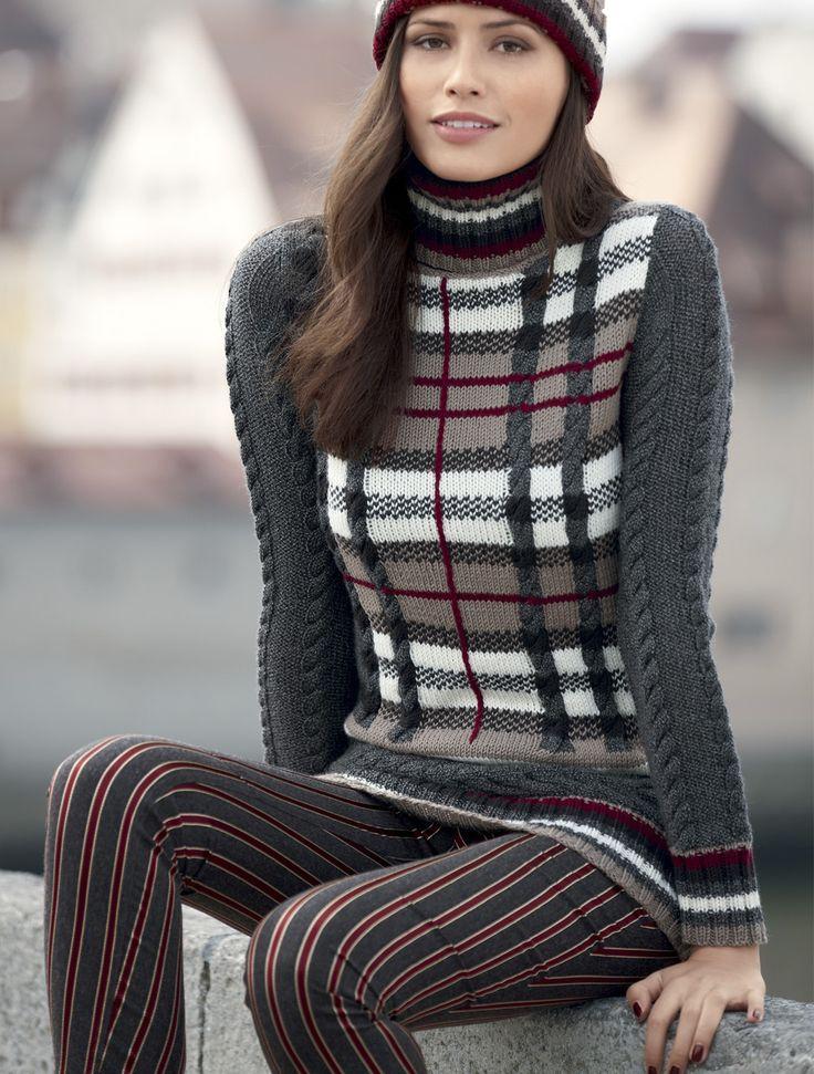 Схема и описание вязания на спицах свитера в шотландскую клетку из журнала «Verena» №4/2015