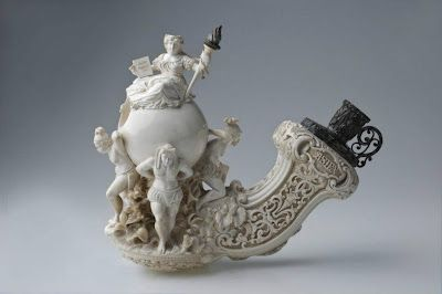 "This masterfully and intricately carved meerschaum pipe bowl was one of about 150 select pipes and cheroot holders on exhibit at Berlin's Schloss Britz Museum, titled ""Tabak und Meerschaum. Die Weisse GÖTTIN, from May through September 2010."