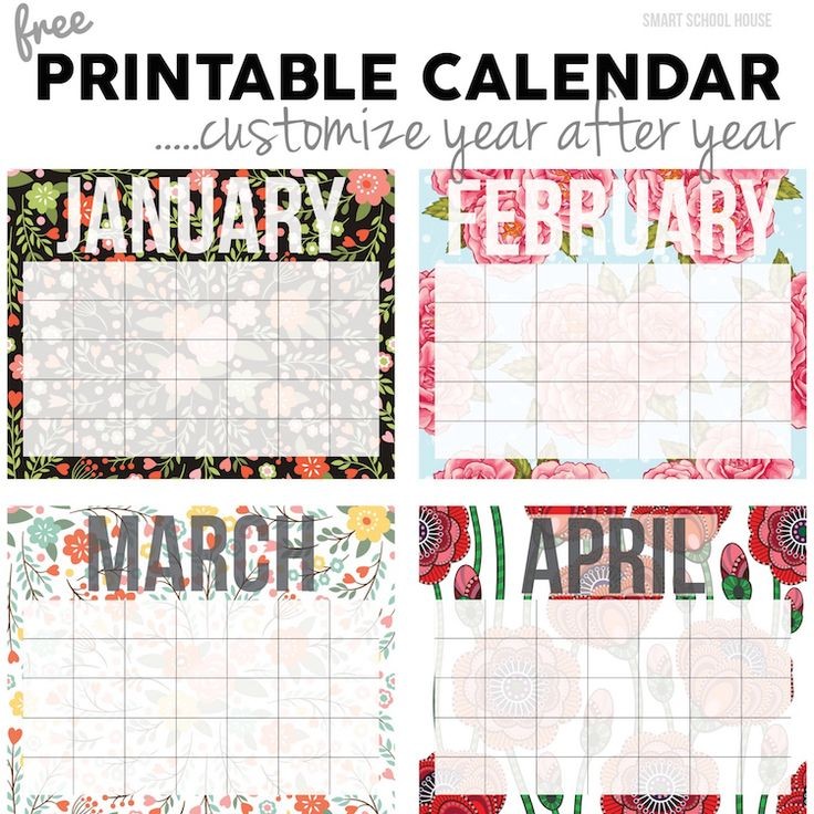 Free Calendar printable. Print out and put in a photo frame. Use a dry erase marker on the glass and reuse year after year