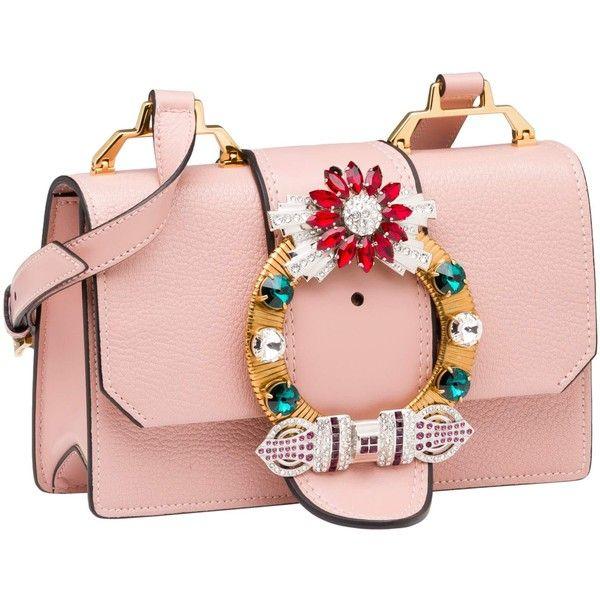 SHOULDER BAG (11670555 PYG) ❤ liked on Polyvore featuring bags, handbags, shoulder bags, crossbody bag, buckle purses, jewel purse, miu miu handbags, jeweled handbags and pink shoulder handbags