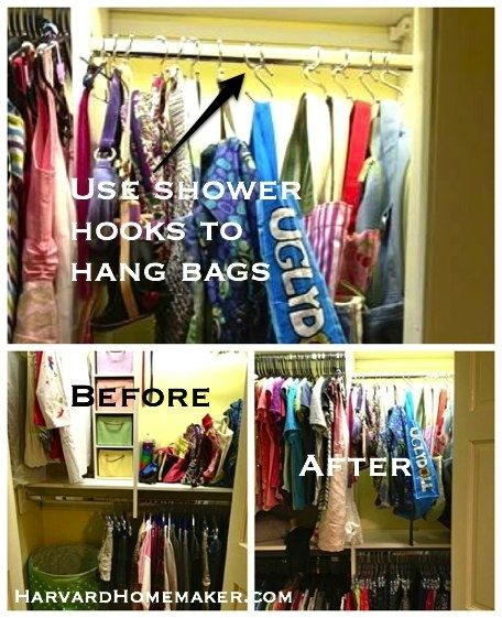 Ideas To Help Organize Your Home And Your Life   Harvard Homemaker     Shower Hooks To Hang Bags