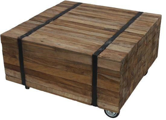 HSM Collection - salontafel op wielen Singa - vierkant - naturel