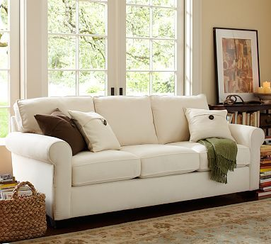 Our new couch. #PB Buchanan Sleeper Sofa. Brushed Canvas in Stone. Fyi Pottery Barn gives 10% Military discount in store.
