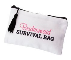 All her wedding day essentials for those little emergencies can be found in this bridesmaid survival bag. Bridesmaids can be prepared for anything with this survival kit close at hand. Survival kits a