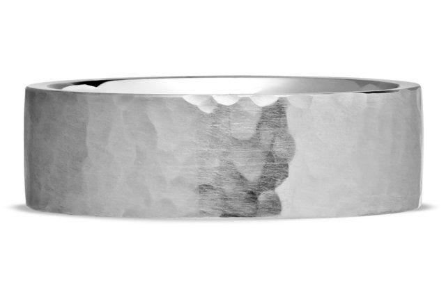 Men's Forged Wedding Ring - in Platinum