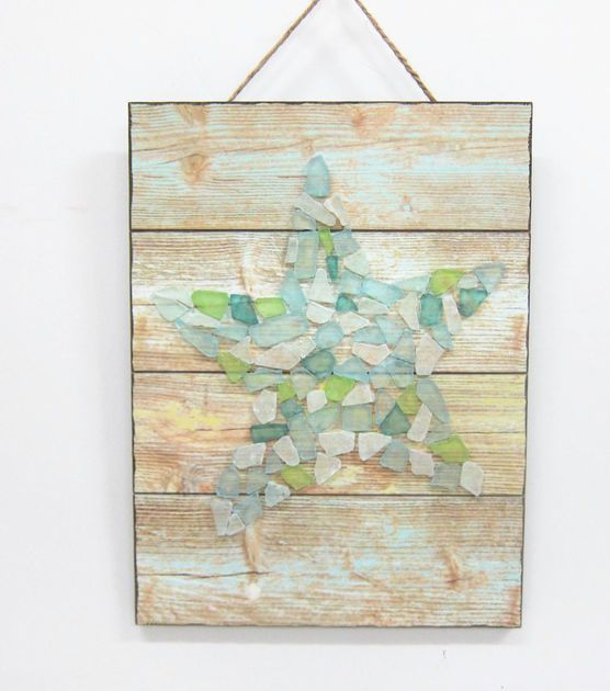 "Escape To Paradise Wood And Sea Glass Wall Decor - Star Fish - 10.5"" x 14.5"""