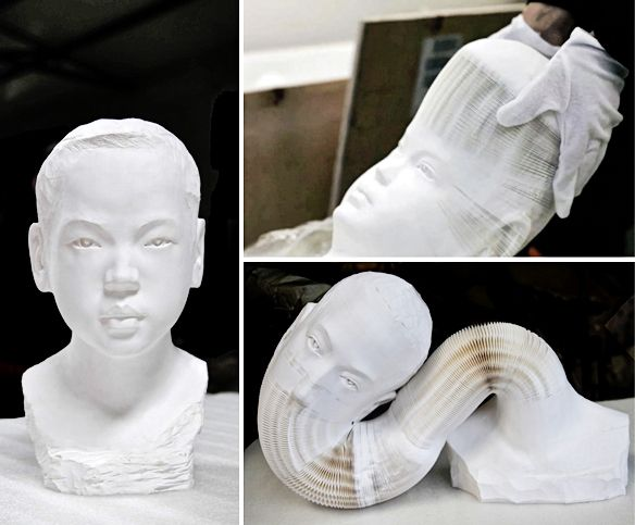 Ah. Mazing!!! What appear to be plaster busts are actually bendable/stretchable sculptures made of tens of thousands of sheets of paper… sort of like giant paper slinkies… if slinkies were shaped like 'David'!  Chinese artist Li Hongbo is the man behind this work.