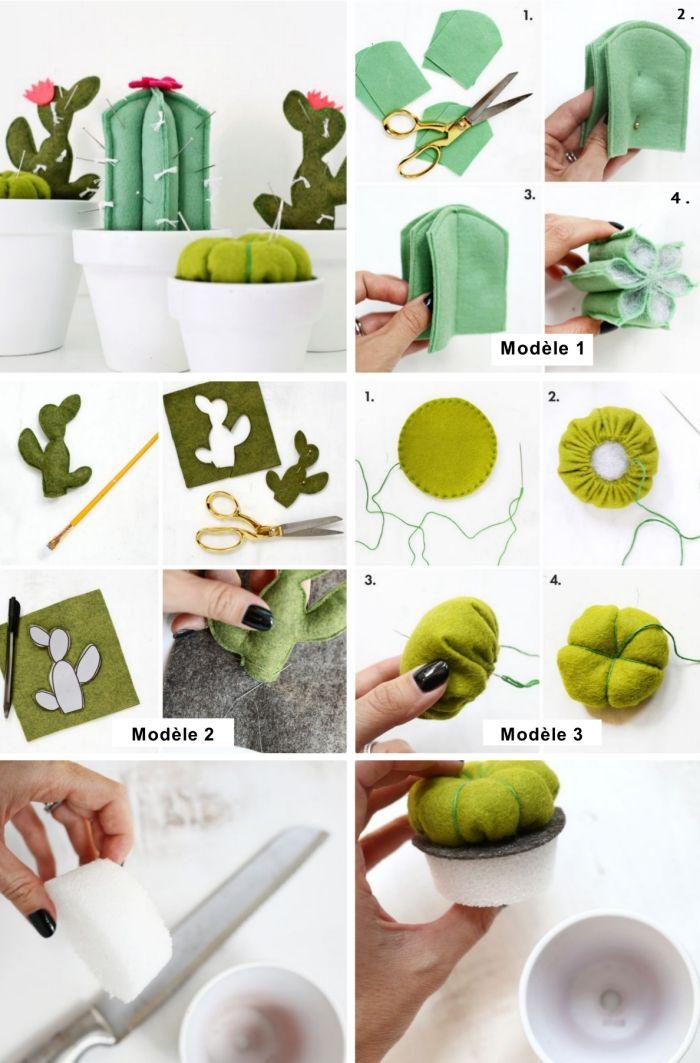 tutoriel avec instructions et photos pour cadeau fete des grand mere a fabriquer facilement en tissu vert de forme cactus
