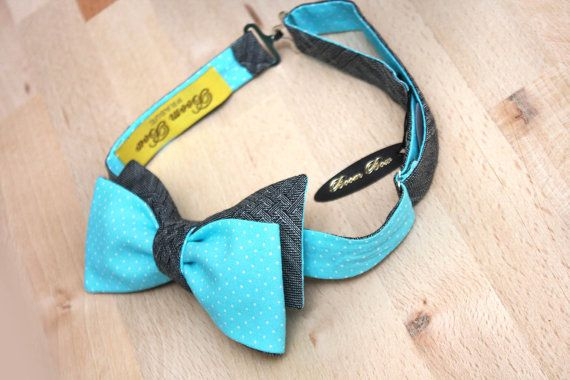 Mens Bow tie Turquoise polka dots cotton and Grey wool