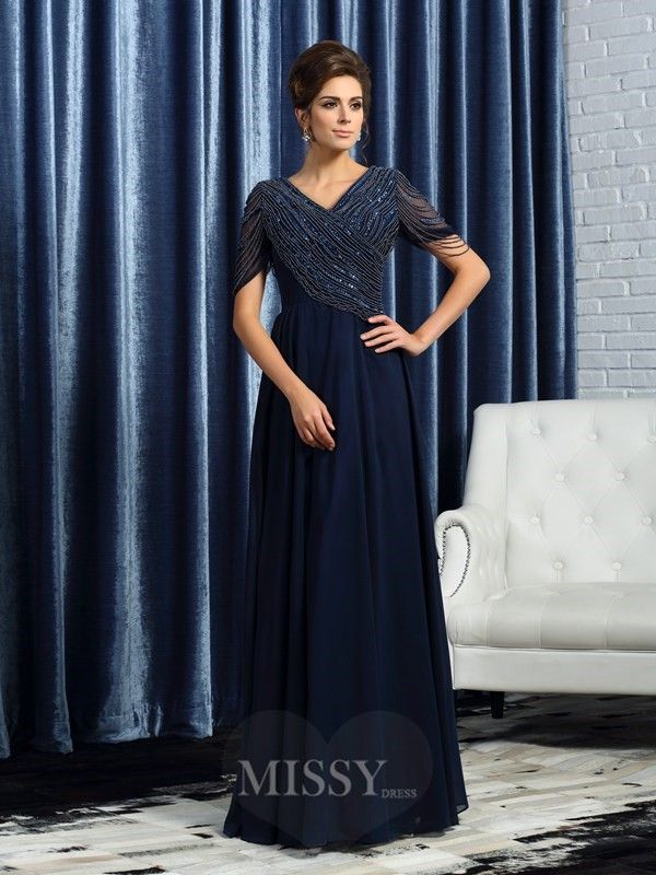A-Line/Princess V-neck Short Sleeves Floor-Length Chiffon Mother Of The Bride Dress With Embroidery