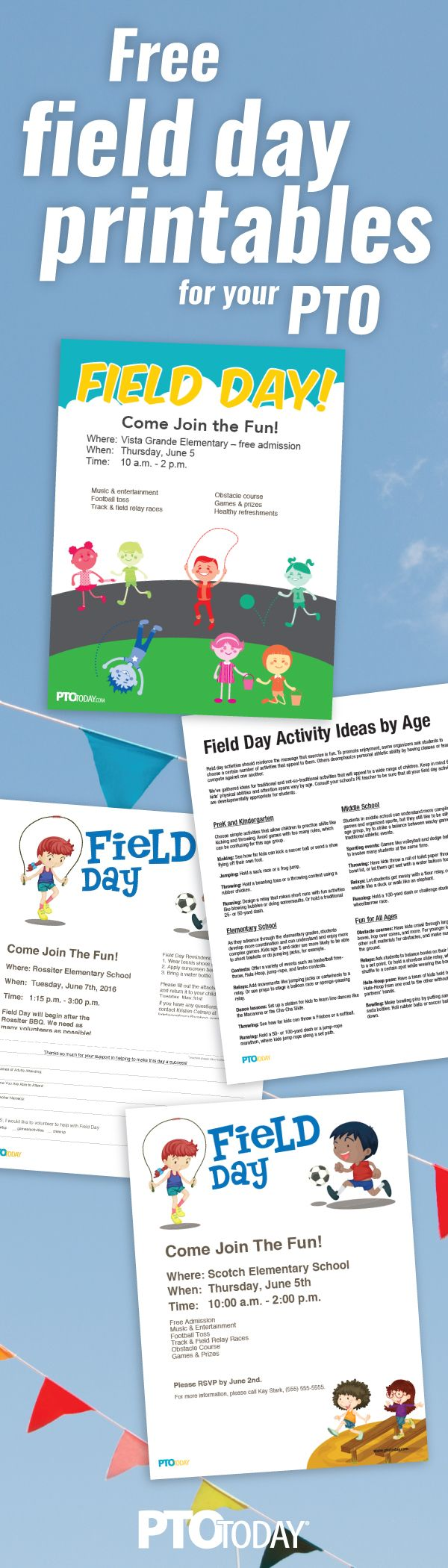 PTO and PTA Leaders: Promote your school field day with our flyers, posters, and more!