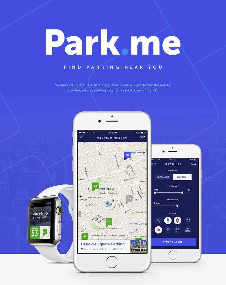 We have designed the assistant app, which will help you to find the nearby parking, reserve parking lot and pay for it. Easy and quick.