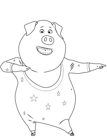 Gunter Pig is Dancing Coloring page Dance coloring pages