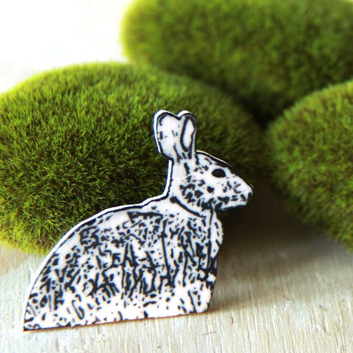 Image of Woodland Series - Black and White Rabbit Brooch