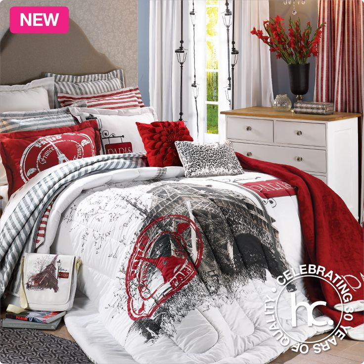 Bring Parisian style to your bedroom with the Paris bedding set.