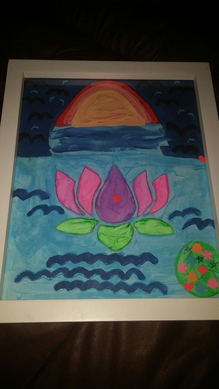 My Painting That I Just Painted! I Drew Pictures With Fine Point Markers & Colourful Tiny Flowers,Red Heart, & Blue Dolphin Cardstock Paper Stamps! 😄😊☺😉😍😘❤💜💙💚💛💗💘💞💖💕💓💌💋💎💍👣💝🎍🎨