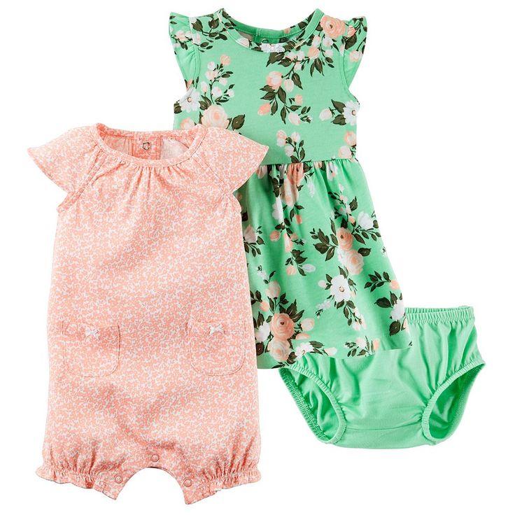 Baby Girl Carter's Dress & Floral Sunsuit Set, Size: 18 Months, Pink