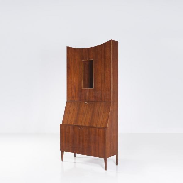 Gio Ponti (1891- 1979) - Grand secrétaire - Noyer et verre - Date de création circa 1950