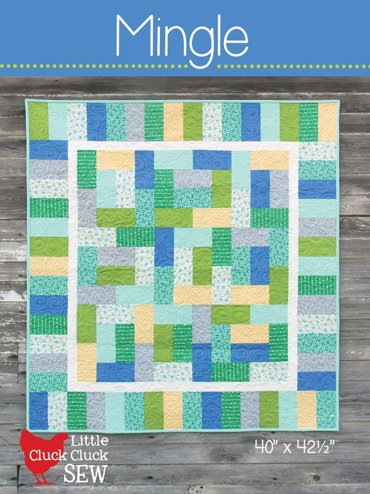 """Mingle is a baby quilt, with only a handful of seams to match, it truly is a great beginner quilt you'll want to make again and again. Make it with fat quarters or pre-cut 10"""" squares. Finished size i"""
