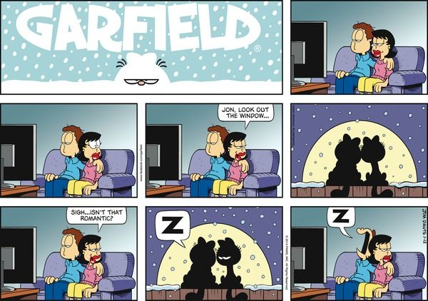 Garfield Cartoon for Jan/12/2014.........Ha ha ha...Hey guys, it's romantic, isn't it?