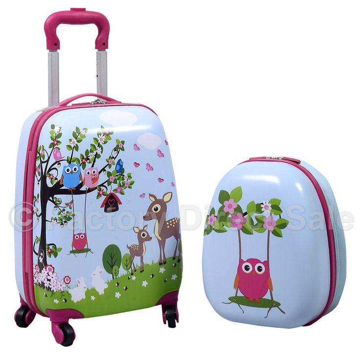 night owls hard shell 2 piece kids luggage set 16u201d trolley case u0026 12u201d