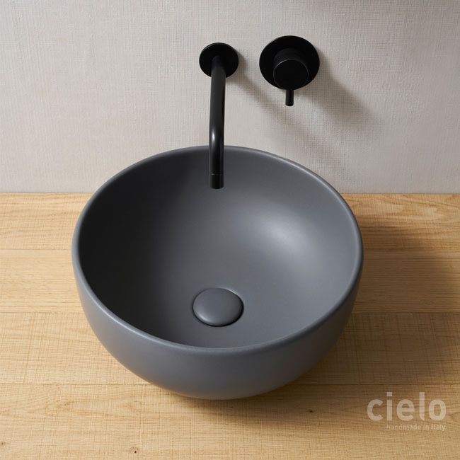 On top bowl diameter 45 colored Basalto Shui - Basin colored bathroom Ceramica Cielo
