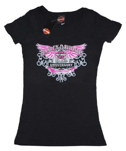 House of Harley-Davidson® Women's Harley-Davidson® Black Pink Wing 100th Anniversary Scoop Neck T-Shirt. House of Harley-Davidson® Graphics on Back. Black. Tee. 302962670