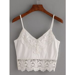 SheIn(sheinside) Crochet Trimmed Crop Cami Top - White