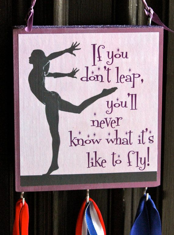 Gymnastics- medal hanger - team gift - inspirational saying with sports medal hanger on Etsy, $16.50