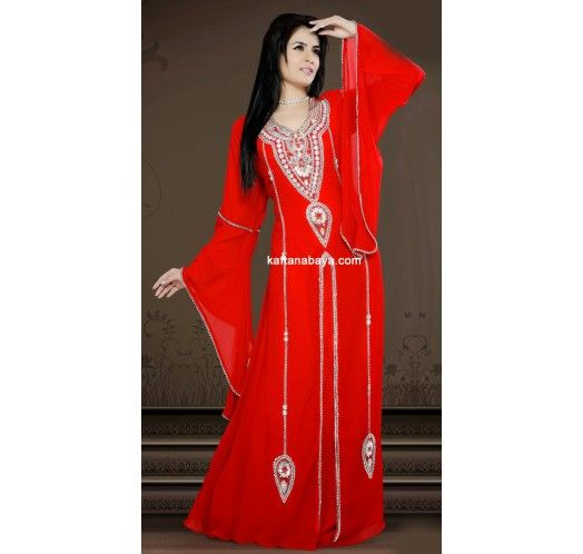 Red Faux Georgette Fashionable Stylist #Kaftan