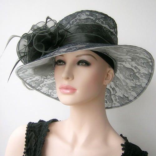 Las Black Lace Church Wedding Guest Dress Hat Formal Wear Women Sku 158067