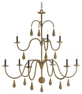Marina Coastal Beach Style Burlap 9 Light Chandelier - beach style - chandeliers - by Kathy Kuo Home